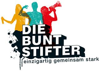 Logo die Buntstifter, einzigartig, gemeinsam, stark